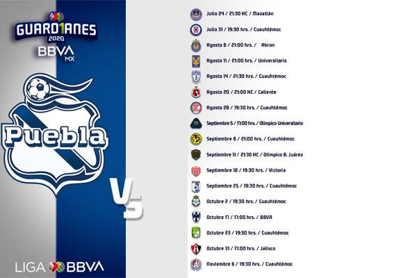 Listo el calendario del Torneo Guardianes 2020 para el Puebla